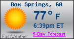 Weather Forecast for Box Springs, GA