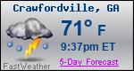 Weather Forecast for Crawfordville, GA
