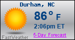 Weather Forecast for Durham, NC