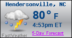Weather Forecast for Hendersonville, NC