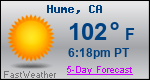 Weather Forecast for Hume, CA