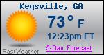 Weather Forecast for Keysville, GA